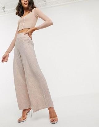 ASOS DESIGN wide leg trouser with deep waistband in glitter