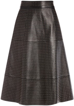 Alice + Olivia Sosie Studded Leather Midi Skirt