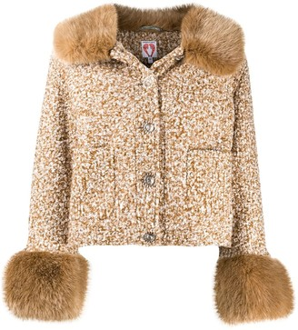 Shrimps Cropped Faux-Fur Trim Jacket