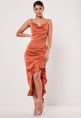 Missguided Rust Ruffle Side Slip Dress