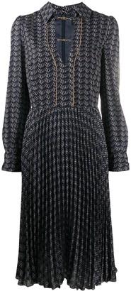 Elisabetta Franchi Ribbon-Print Pleated Midi Dress