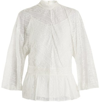 Muveil Peplum-hem Floral-embroidered Silk Blouse - Womens - Cream