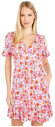 Lucky Brand Ditsy Floral Mila Wrap Dress (Pink Multi) Women's Clothing