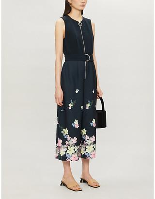 Ted Baker Pergola floral-print regular-fit stretch-crepe and stretch-satin jumpsuit