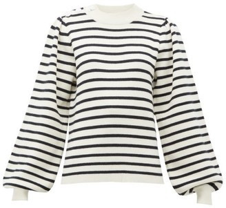 Ganni Balloon-sleeved Striped Jersey Sweater - Womens - White Multi