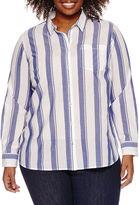 A.N.A a.n.a Long Sleeve Button-Front Shirt-Plus