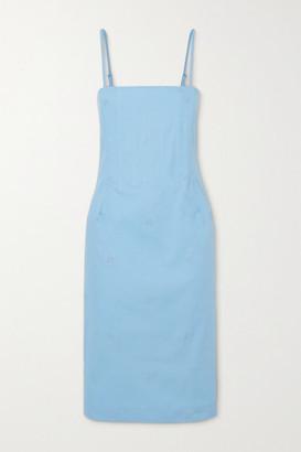 Miaou Degas Embroidered Stretch-cotton Chambray Dress - Blue