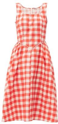 Batsheva Gingham-print Cotton Midi Dress - Red White