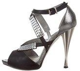Rene Caovilla Jewel-Embellished Crossover Sandals