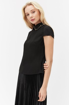 Coast Short Sleeve Jewelled Collar Shell Top