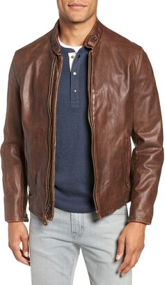 Schott NYC Cafe Racer Hand Vintaged Cowhide Leather Jacket