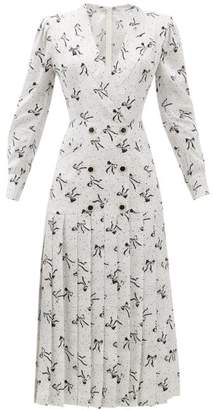 Alessandra Rich Bow And Dot-print Pleated-skirt Silk Dress - Womens - White Black