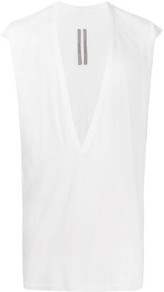 Rick Owens deep V-neck cotton tank top