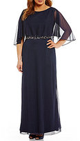 Cachet Plus Beaded Waist Chiffon Capelet Gown