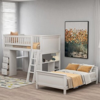 Harriet Bee Eastover Twin over Twin L-Shaped Bunk Bed with Desk, Bookcase and 4 Drawers Bed Frame Color: Gray
