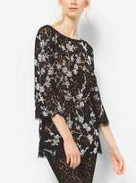 Michael Kors Crystal-Embroidered Floral Lace Tunic
