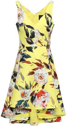 Black Halo Eve By Laurel Berman Asymmetric Pleated Floral-print Woven Mini Dress