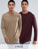 Asos Super Longline Long Sleeve T-Shirt With Curve Hem 2 Pack