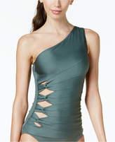 Carmen Marc Valvo One-Shoulder Cutout Tankini Top Women's Swimsuit
