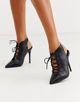 Asos Design DESIGN Proud lace up high heeled shoe boots in black