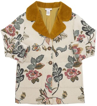 Oscar de la Renta Floral Jacquard Coat W/ Corduroy