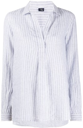 Fay Pinstriped Point-Collar Blouse