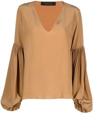 FEDERICA TOSI Long-Sleeve Flared Silk Blouse