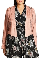 City Chic Lace Panel Faux Suede Jacket