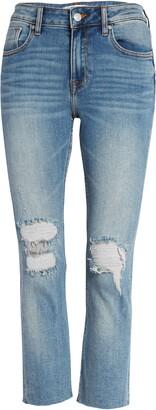 Vigoss Stevie Ripped Raw Hem Crop Straight Leg Jeans