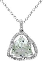 Green Quartz & Diamond Accent Sterling Silver Pendant Necklace
