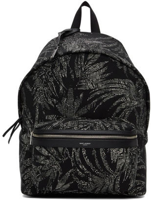 Saint Laurent Black and White Palm Print City Backpack