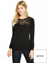 Wallis Petite Lace Yoke Jumper - Black