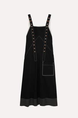 Proenza Schouler Embroidered Cotton-drill Midi Dress - Black