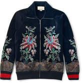 Gucci Slim-fit Embroidered Cotton-blend Velvet Zip-up Sweatshirt