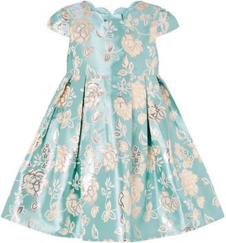 Monsoon Baby Kimberley Rose Jacquard Dress Blue