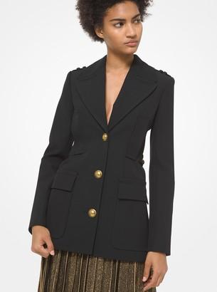 Michael Kors Collection Bonded Wool Gabardine Military Jacket