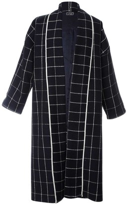 L2r The Label Slouchy Coat in Black and Gold Wool