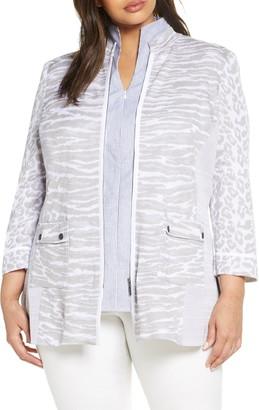 Ming Wang Animal Jacquard Knit Jacket