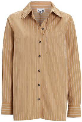 Ganni Striped Poplin Button-Down Shirt