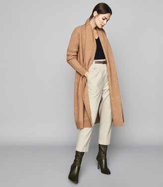 Reiss WILLOW Longline Ribbed Knit Cardigan Camel