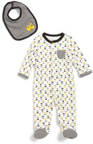 Offspring Geometric Print Footie & Bib Set (Baby Boys)