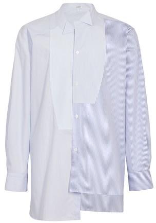 Neuf Sans Étiquette Homme Affliction Sunset Blues délavé à rayures boutonné T Shirt Taille L