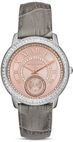 Michael Kors Madelyn Pavé Leather Strap Watch, 40mm
