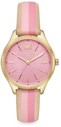 Michael Kors Lexington Three-Hand Stainless Steel Striped Leather Strap Watch