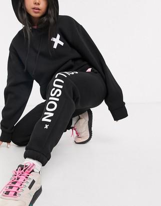 Collusion Unisex logo jogger in black