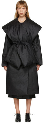 AMOMENTO Black Down Detachable Muffler Puffer Coat