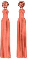 Ella & Elly Women's Earrings Coral - Coral Beaded Tassel Drop Earrings