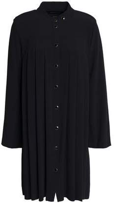 Vanessa Seward Pleated Crepe Mini Shirt Dress
