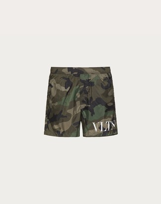 Valentino Vltn Bathing Suit Man Military Green Polyamide 100% 44