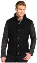 Calvin Klein Jeans Boiled Wool 4 Pocket Military Jacket (Black) - Apparel